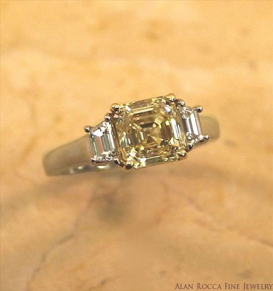 Asscher Cut Fancy Yellow Diamond Ring with Step Cut Trapezoid Accents