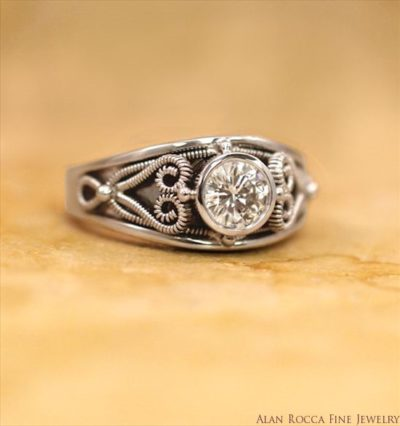 Bezel Set Brilliant Round Diamond Ring with Hand Twisted Wire Inlay