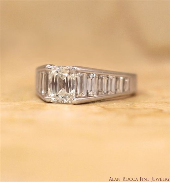 Fancy Emerald Cut Channel Set Diamond Ring