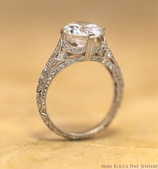 Antique Inspired Brilliant Round Diamond Ring with Intricate Bead Set Band