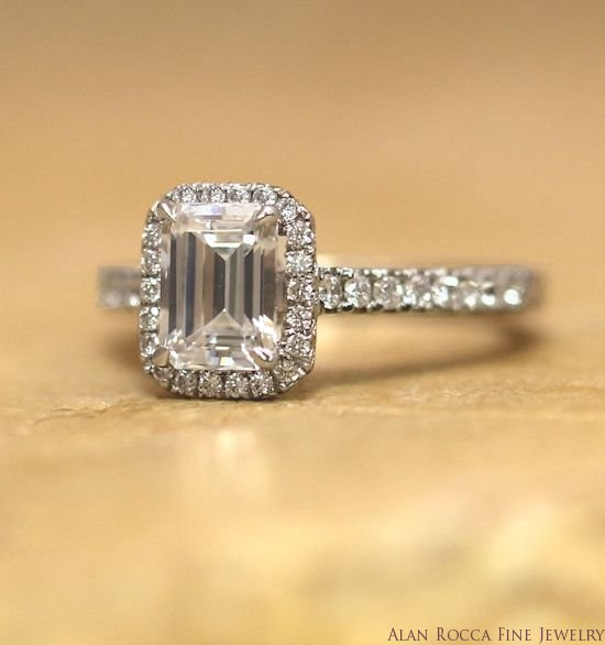 Emerald Cut Diamond Ring with Prong Set Halo