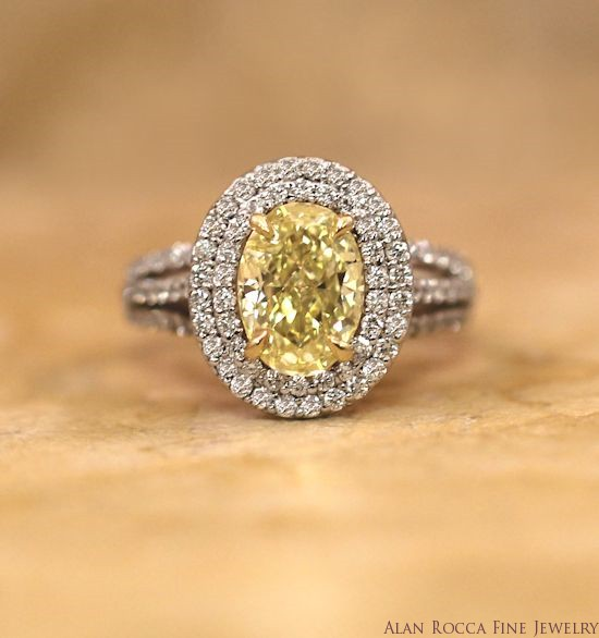 Oval Fancy Yellow Diamond Ring with Two Row Prong Set Halo