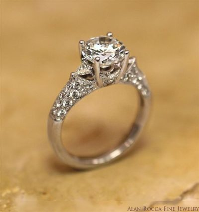 Brilliant Round Diamond Ring with Pave Set Three Sided Shank