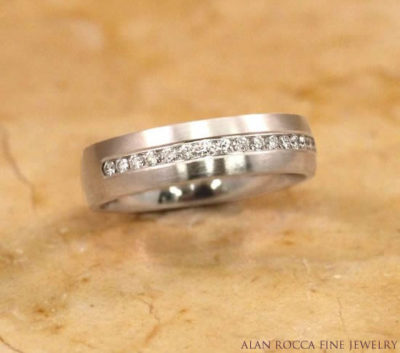 Brush Finish Diamond Wedding Band