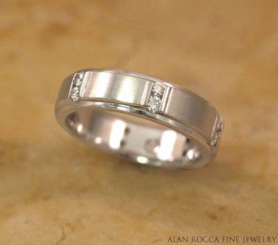 Dual Finish Wedding Band with Channel Set Diamonds