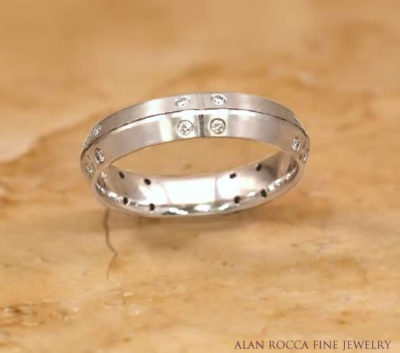 Knife Edge Wedding Band with Burnish Set Round Diamonds