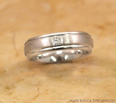 Three Row Wedding Band with Burnish Set Princess Cut Diamond