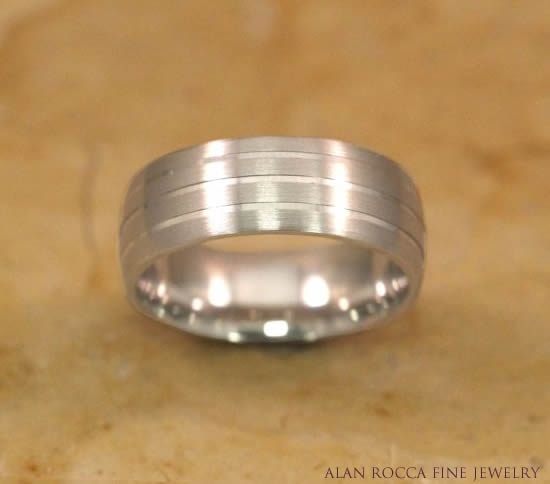 Four Row Brush Finish Wedding Band Seperated by High Polish Grooves