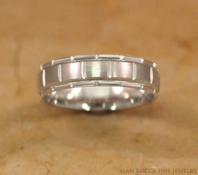 Dual Finish Patterned Wedding Band with Milgrain Edging