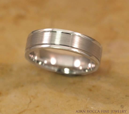 Grooved Dual Finish Wedding Band