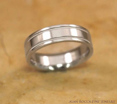High Polish Three Row Wedding Band with Inlayed Milgrain