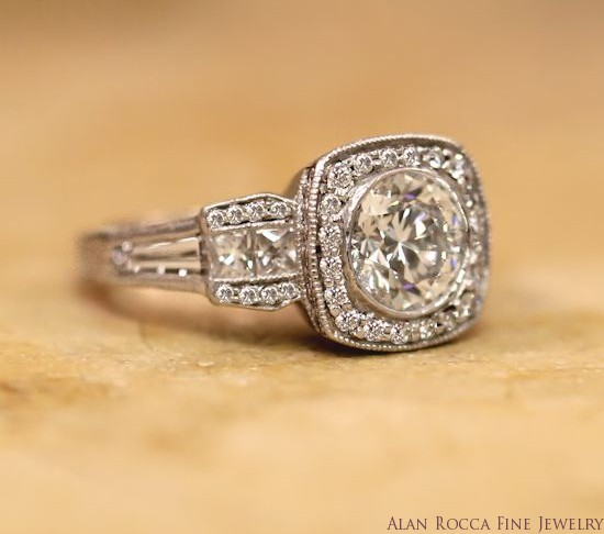Bezel Set Brilliant Round Diamond Ring with Princess and Baguette Side Stones