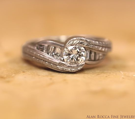 Brilliant Round and Baguette Diamond Ring with Hand Engraving