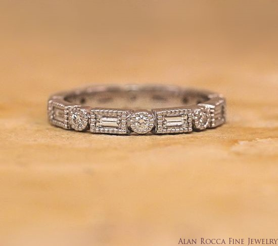 Antique Inspired Bezel Set Round and Baguette Diamond Eternity Band