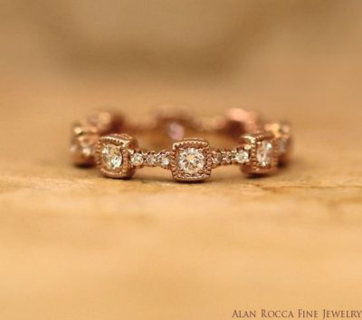 Antique Inspired Graduating Round Cut Diamond Eternity Band