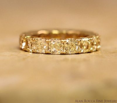Fancy Yellow Radiant Cut Diamond Eternity Band
