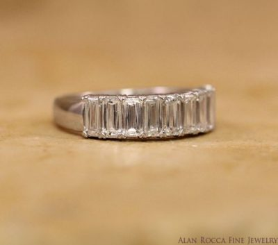 Fancy Emerald Cut Diamond Wedding Band