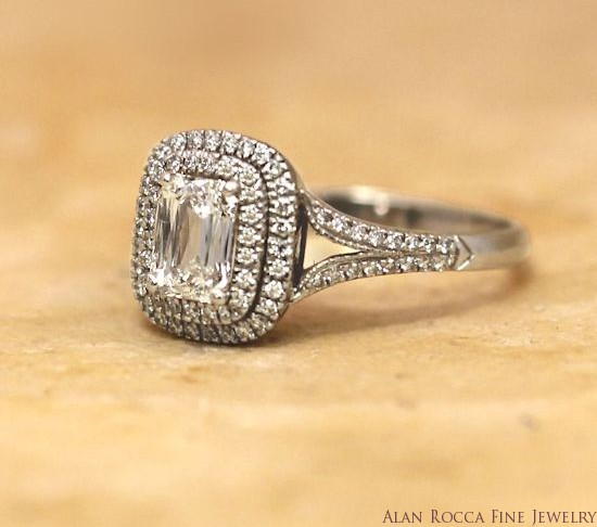 Fancy Emerald Cut Diamond Ring Surrounded by Prong Set Double Halo