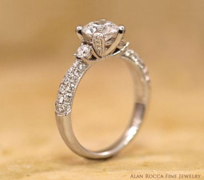 Brilliant Diamond Three Stone Ring with Pave Band