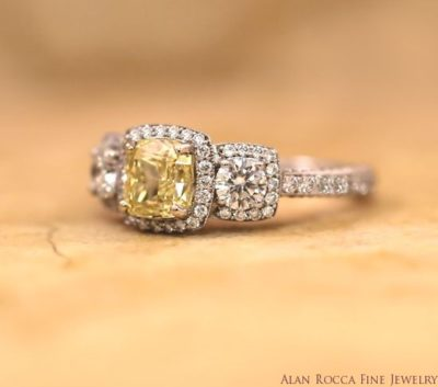Three Stone Cushion Cut Fancy Yellow Diamond Ring with Bead Set Halo