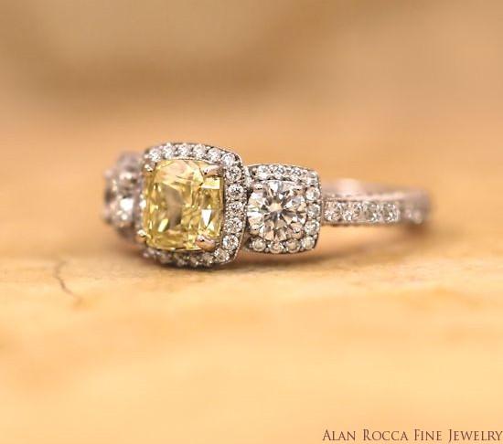 Three Stone Cushion Cut Fancy Yellow Diamond Ring with Bead Set Halo