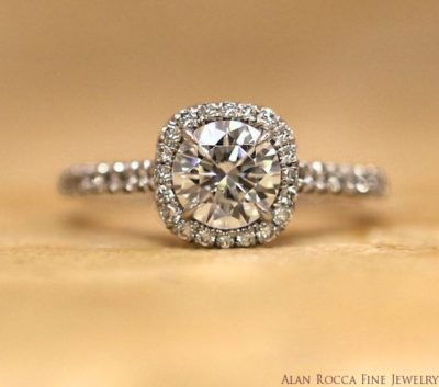 Brilliant Round Diamond Ring with Prong Set Halo